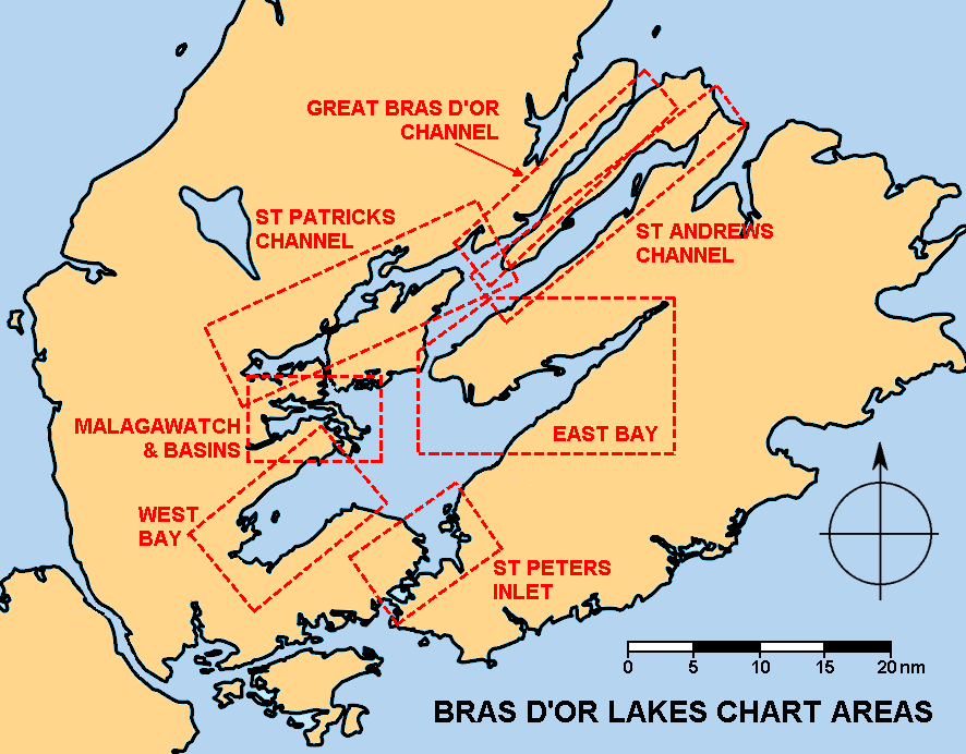 Overview of chart areas for Bras d'or Lakes